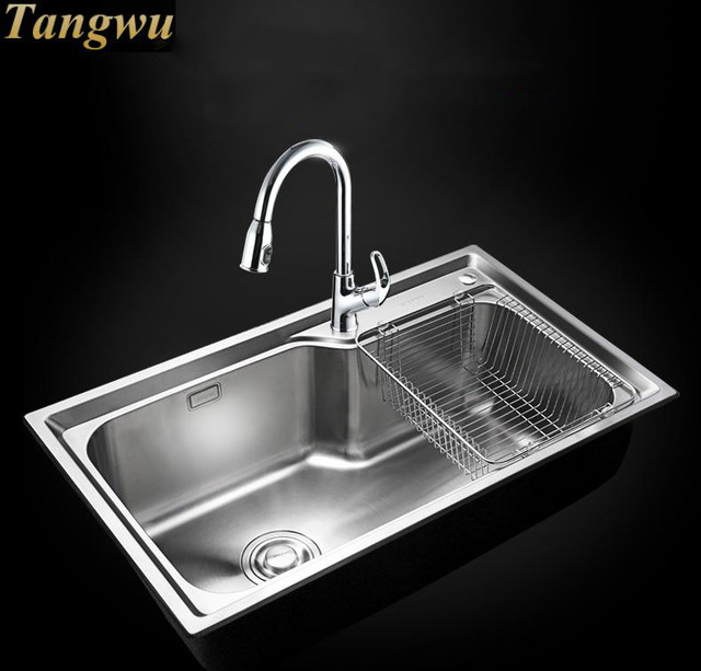 Free Shipping New 304 Stainless Steel Sink Single Package Kitchen 75x45cm
