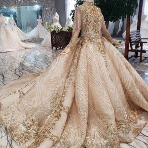 Image 4 - LS20470 Luxury muslim Wedding Dress high neck shiny sequins lacing up back handmade appliques bridal dress golden ślub