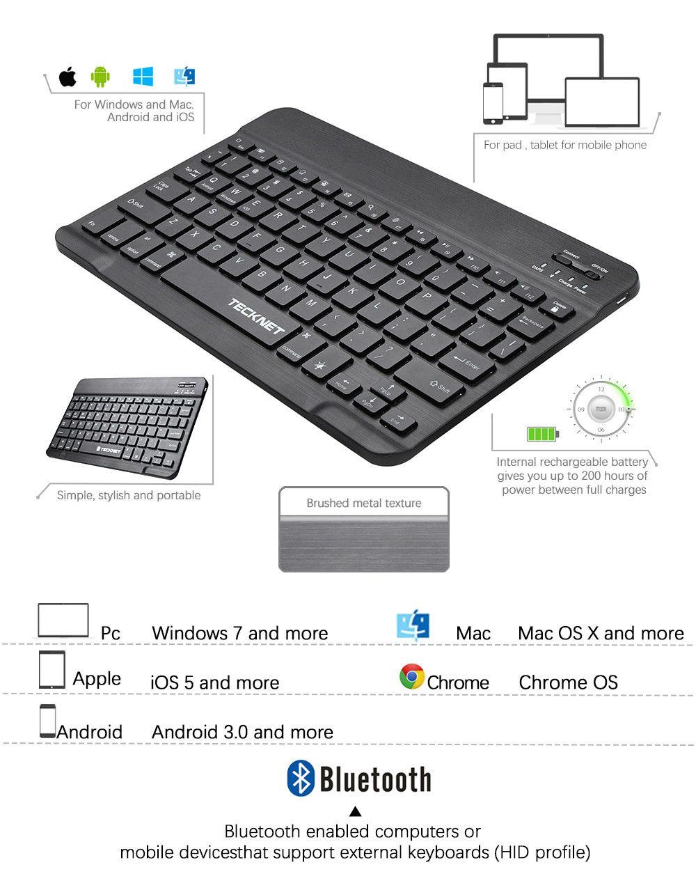 Backlit Bluetooth Illuminated Ultra-Slim Wireless Keyboard