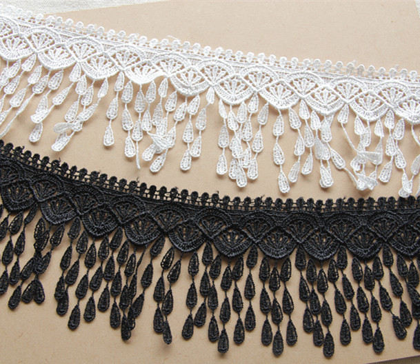 Free Shipping New Arrival Polyester Fringe Lace Trim 8cm WhiteBlack Dress Edging Tassel Lace