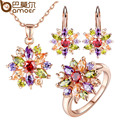 BAMOER  Rose Gold Plated Jewelry Sets for Women with High Quality Multicolor AAA Zircon Wedding & Engagement Jewelry