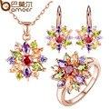 Bamoer rosa banhado a ouro conjuntos de jóias para as mulheres com alta qualidade multicolor aaa zircon wedding & engagement jóias