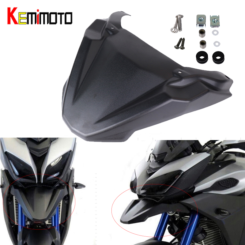 KEMiMOTO Front Wheel Fender For Yamaha MT-09 FJ-09 MT-09 Tracer 2015-2017 2018 2019 Beak Nose Cone Extension Cover Extender CowlKEMiMOTO Front Wheel Fender For Yamaha MT-09 FJ-09 MT-09 Tracer 2015-2017 2018 2019 Beak Nose Cone Extension Cover Extender Cowl