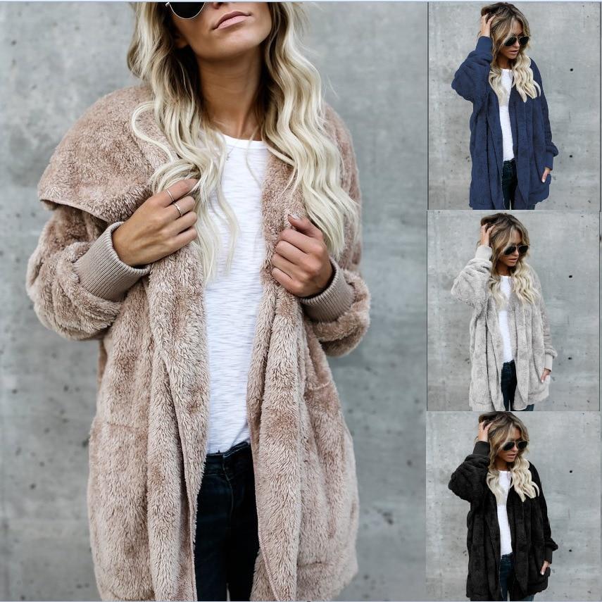 2018 New Year Spring Faux Fur Teddy Bear Coat Jacket Women Fashion Open Point Hooded Coat Woman Long Sleeve Blurred Jacket S-5XL pluszowa bluza
