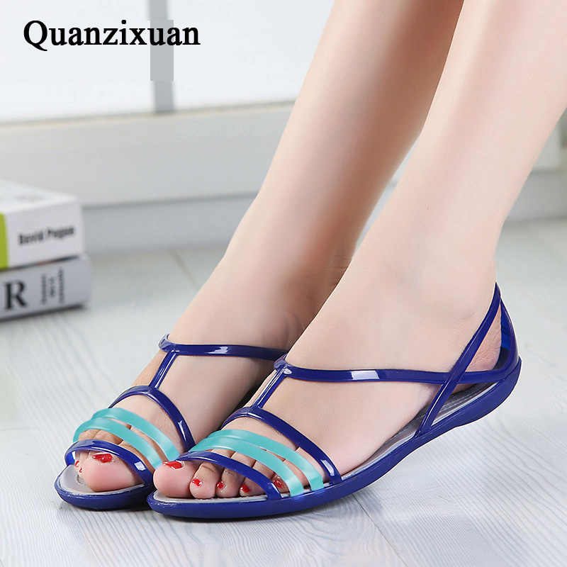 3ad1c64f6972 ... Women Sandals 2018 Summer Candy Colors Women Shoes Peep Toe Stappy  Rainbow Beach Jelly Shoes ...