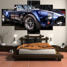 AC Cobra Blue Convertible Sport Car Painting Home Decor Picture Canvas Wall Art For Living Room
