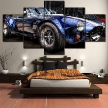 AC Cobra Blauw Convertible Sport Auto Auto Schilderen Home Decor Foto Canvas Wall Art Voor Woonkamer Wall Art Canvas schilderen(China)