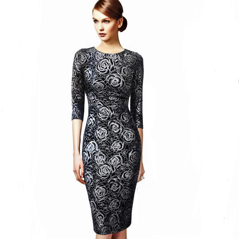 Womens Elegant Vintage Pop Stamping Rose 2/<font><b>6</b></font> Sleeves Round Neck Slim Casual Party Special Occasion Pencil Sheath Bodycon <font><b>Dress</b></font> image