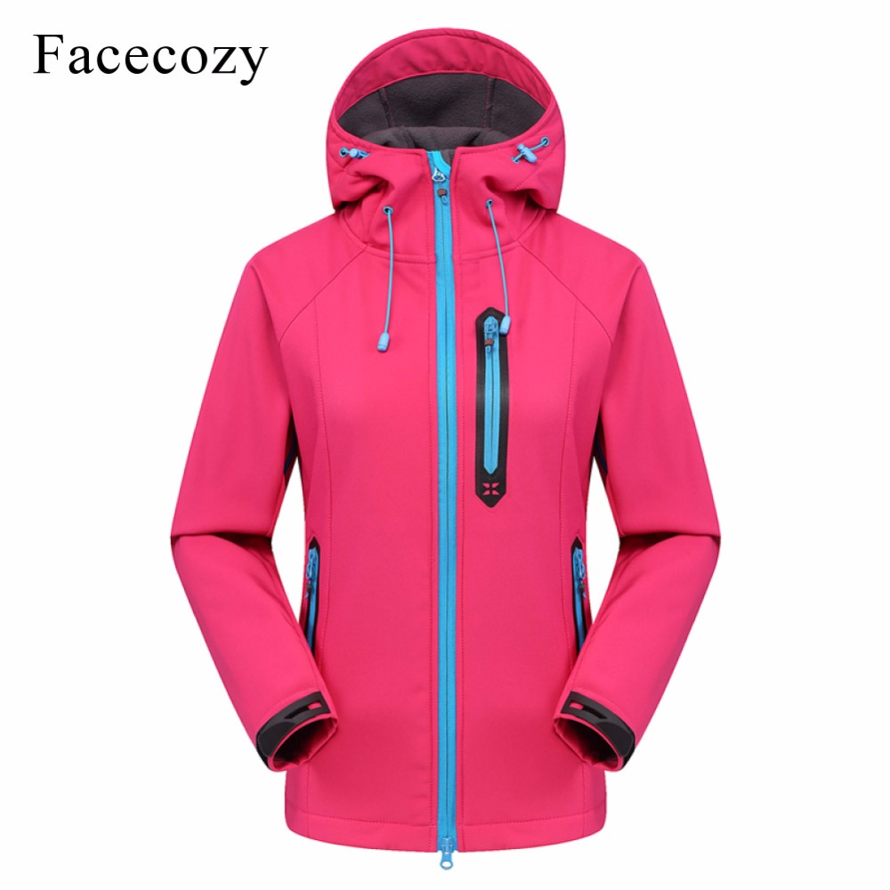 Facecozy Women 2019 Outdoor Hooded Softshell Winter Jacket Women Jackets Hiking Camping Fishing Trekking Thermal Coat