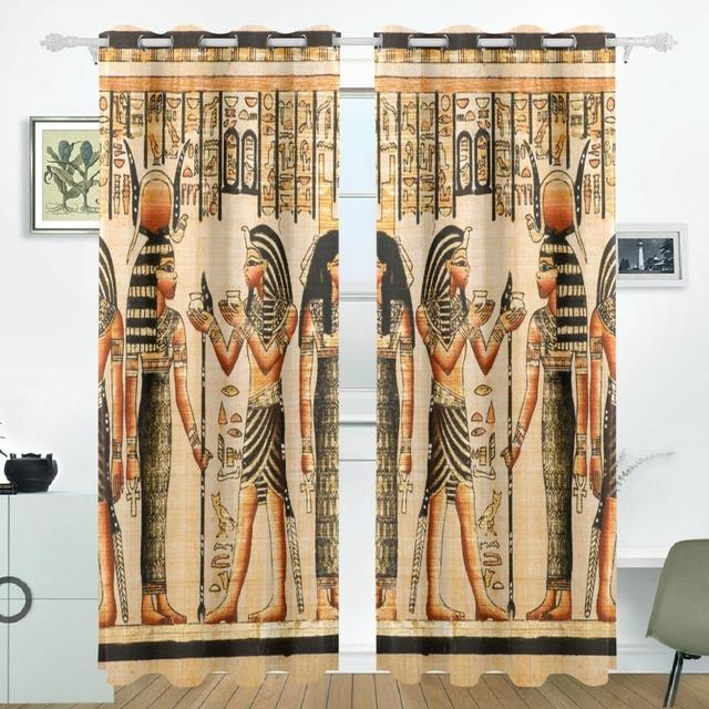 Vintage Egypt Art Curtains Drapes Panels Darkening Blackout Grommet Room  Divider For Patio Window Sliding Glass