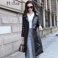 Ptslan 2016 Women's Genuine Leather Jacket Zipper Closure Real Lambskin Down Coat