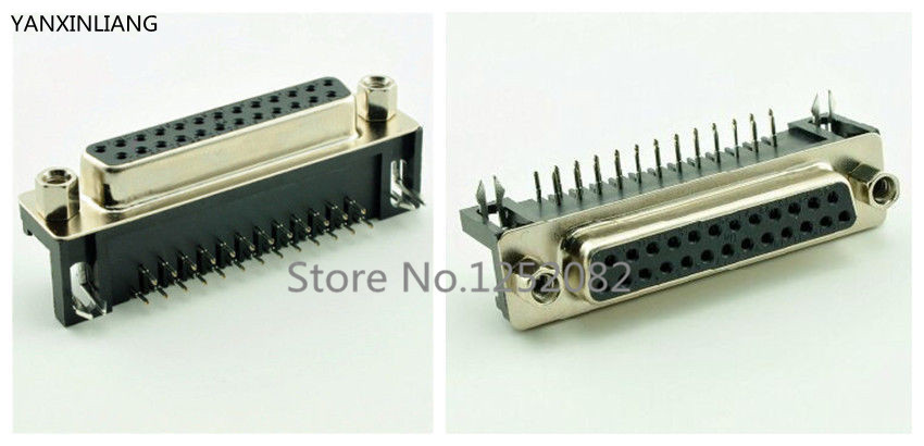 5PCS D-SUB DB25 Right Angle 25 Pin Female PCB Connector 2 Rows DR25F Interface 50 pcs new d sub 44 pin female solder type plug adapter connector 3 rows serial port connectors