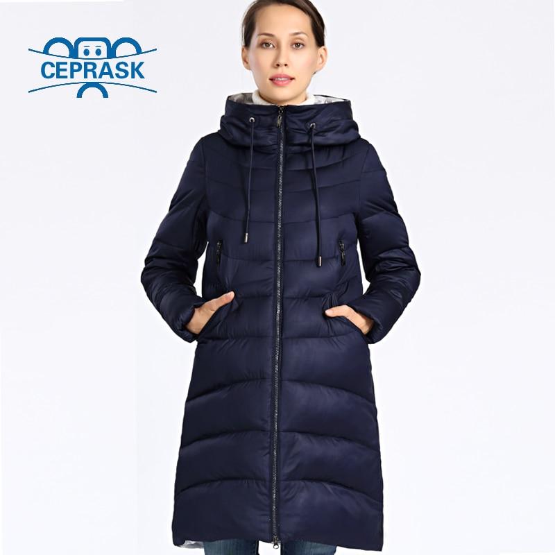 2018 Nuove Donne Giacca Invernale Più Il Formato Lungo di Spessore Moda delle donne di Inverno Cappotto Con Cappuccio Piumini Parka Femme 6xl 5xl Ceprask