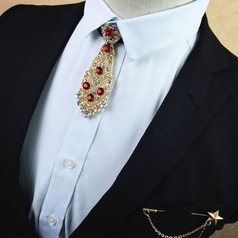 Fashion Clothing Accessories Metal Diamond Gold Red Dot Tie Korean Men's Bow Tie Groom Wedding Dress Collar Flower Brooch