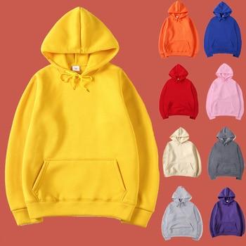 цена на Plain Oversize Clothing Sweatshirt Cute Pullover Basic Hoodie Poleron Mujer 2019 Hip Hop Women Streetwear Kangaroo Pocket Hoodie