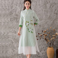 Outono Vestido de Algodão de Moda das Mulheres do Estilo Chinês de Linho Boho Vest Vestido da Cópia Do Vintage Plus Size Vestidos de Roupas