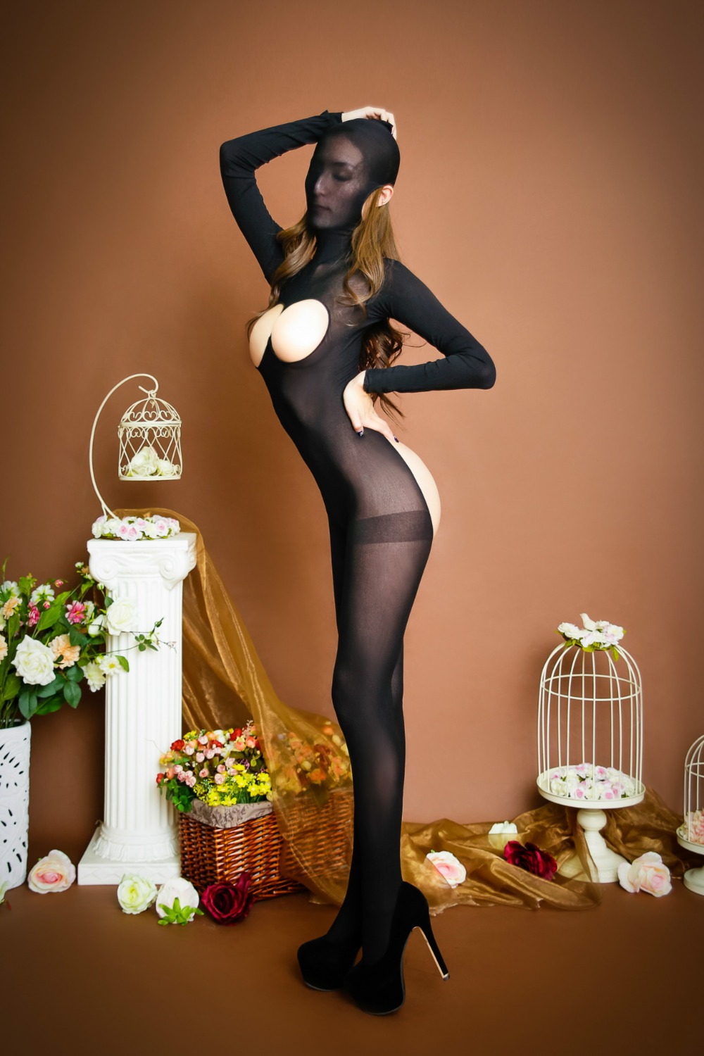 New Sexy Cover head Body Transparent Pantyhose Tights Sexy T-Shirt UniSex Open Bust Cocoon Body Stockings Hipless Bodyhouse FX16