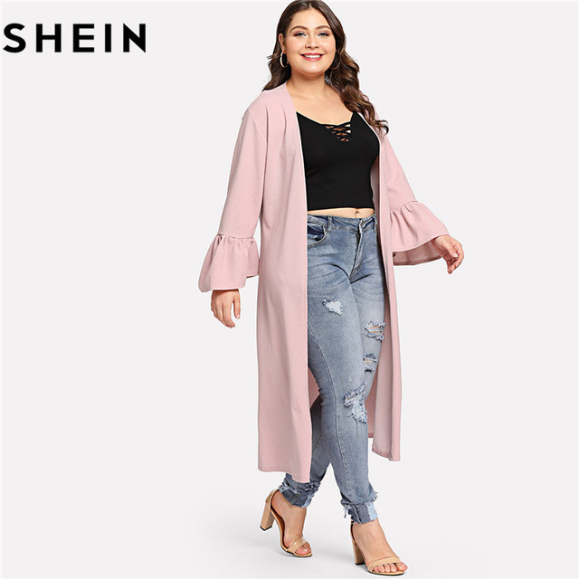 5ae1520f2ee SHEIN Pink Navy Casual Ruffle Sleeve Plus Size Women Long Trench Coats  Autumn Elegant Office Lady
