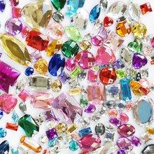 Suoja 100/300 Stks/partij Mix Kleur Acryl Crystal Gezicht Platte Achterkant Steentjes Shiny Kralen Diy Nail Art Sieraden Decoratie