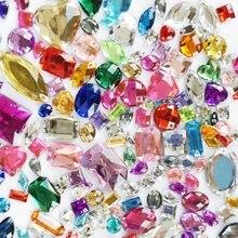 Suoja 100/300 pz/lotto di colore della miscela di Cristallo Acrilico Viso della parte posteriore Piana di Strass Luccicanti Perline FAI DA TE Unghie artistiche Decorazione Dei Monili