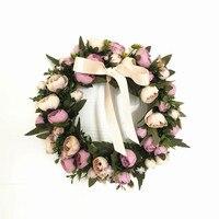 Шелк Искусственные цветы розы венок, гирлянда домашнего украшения двери фестиваль для рождественской вечеринки цветок свадебный подарок
