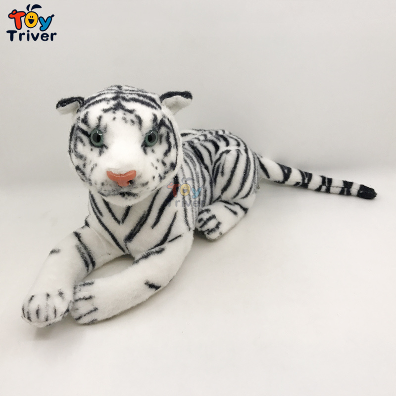 Plush White Tiger Stuffed Animals Doll Simulation Tigers Model Baby Kids Birthday Gifts Home Shop Decor Drop Shipping Triver