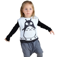 Baby Boys Girls Sweaters Knitted Pullovers 2016 INS Hot Totoro Cartoon Print Sweaters Sleeveless Kids Vest For 12M-5Y GW54