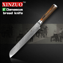XINZUO high quality 8″ inch bread knife japanese VG10 cake knife Damascus steel kitchen knifecook tool with color wood handle