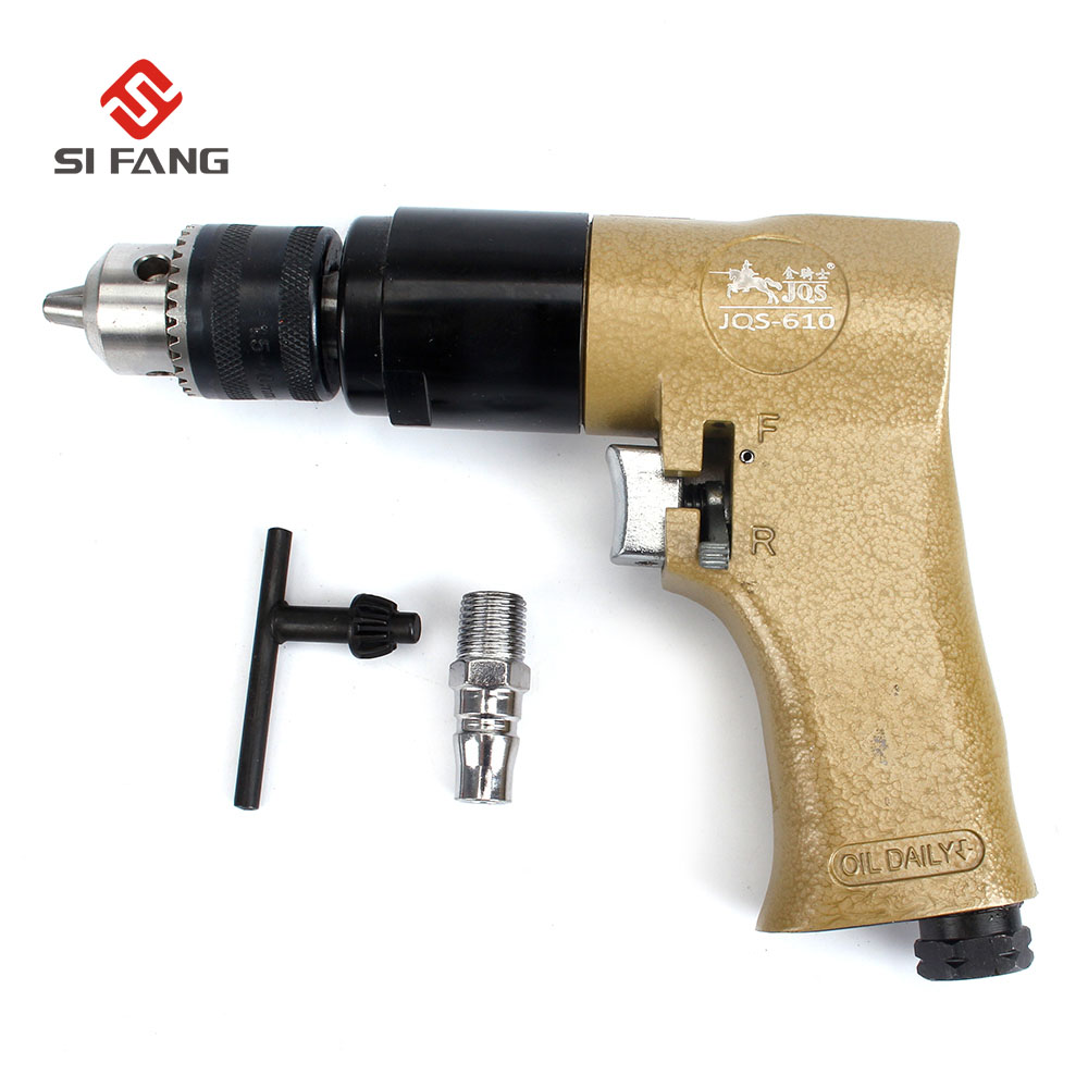 цена на 3/8 Reversible Air Powered Drill Compressor Self Locking Chuck Pneumatic Tool Reversible Air Drill for Hole Drilling