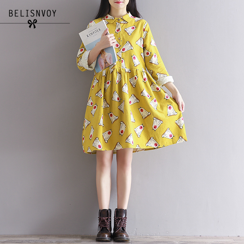 2019 Spring Autumn Women Dress Preppy Cute Long Sleeve Cartoon Printed Single-breasted A-line Mori Girl Yellow Dress Vestidos