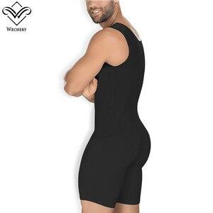 Image 3 - Wechery moldeadores para hombre sin mangas, mono completo S 6XL, corsé de entrepierna abierta, ropa moldeadora adelgazante, color negro y Beige, novedad de 2018