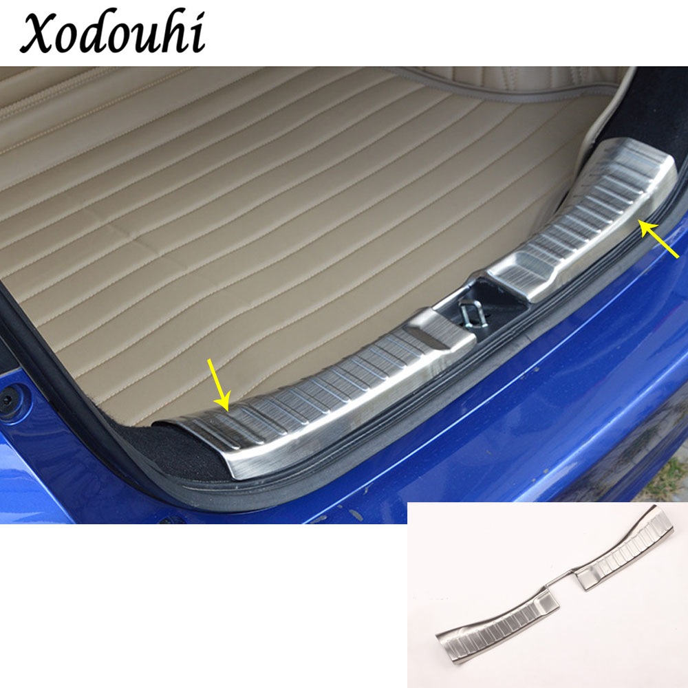For Honda Fit jazz 2014 2015 2016 2017 car body cover protection Bumper pedal trim rear back tail threshold trunk moulding 1pcs car rear trunk security shield shade cargo cover for honda fit jazz 2004 2005 2006 2007 black beige