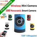 Nova chegada Plug and play Câmera IP Inteligente Câmera Panorâmica 180 grau fisheye Mini Indoor Wifi Câmera de CCTV full HD visualização remota