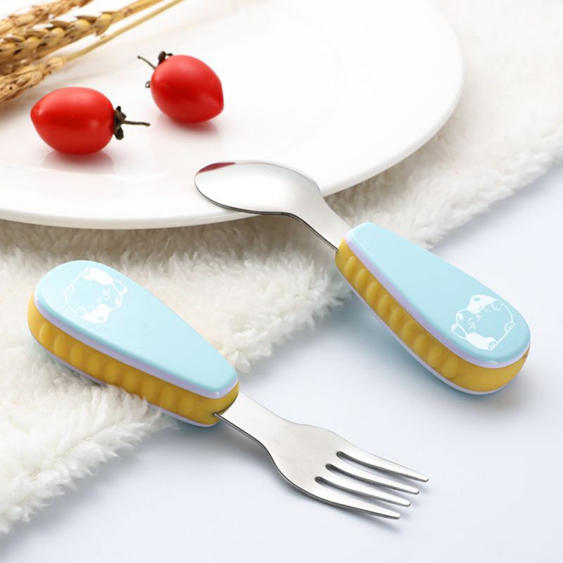 2pcs/set Cute Print Cartoon Baby Kids Feeding Spoon + Fork High Quality Stainless Steel Baby Spoon Flatware Cheap
