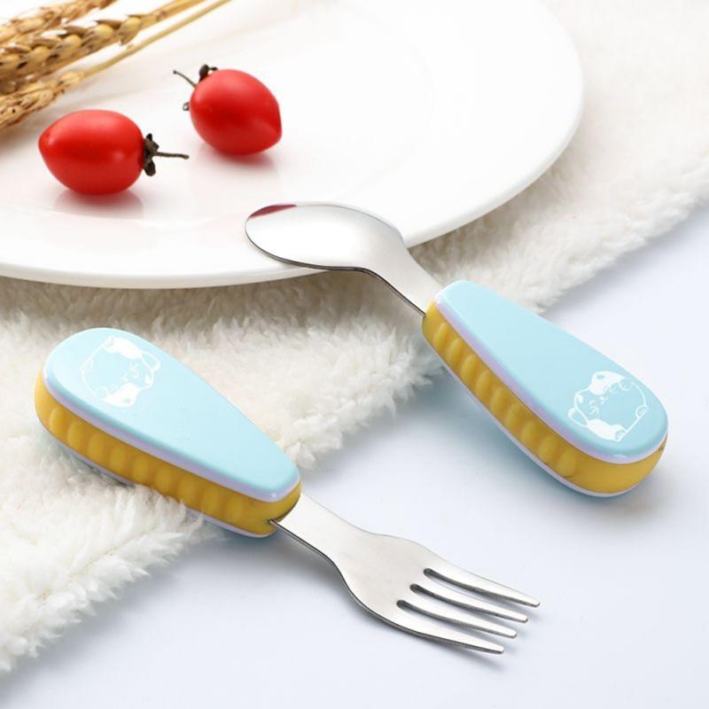 2pcs/set Cute Print Cartoon Baby Kids Feeding Spoon + Fork High Quality Stainless Steel Baby Spoon Flatware Cheap