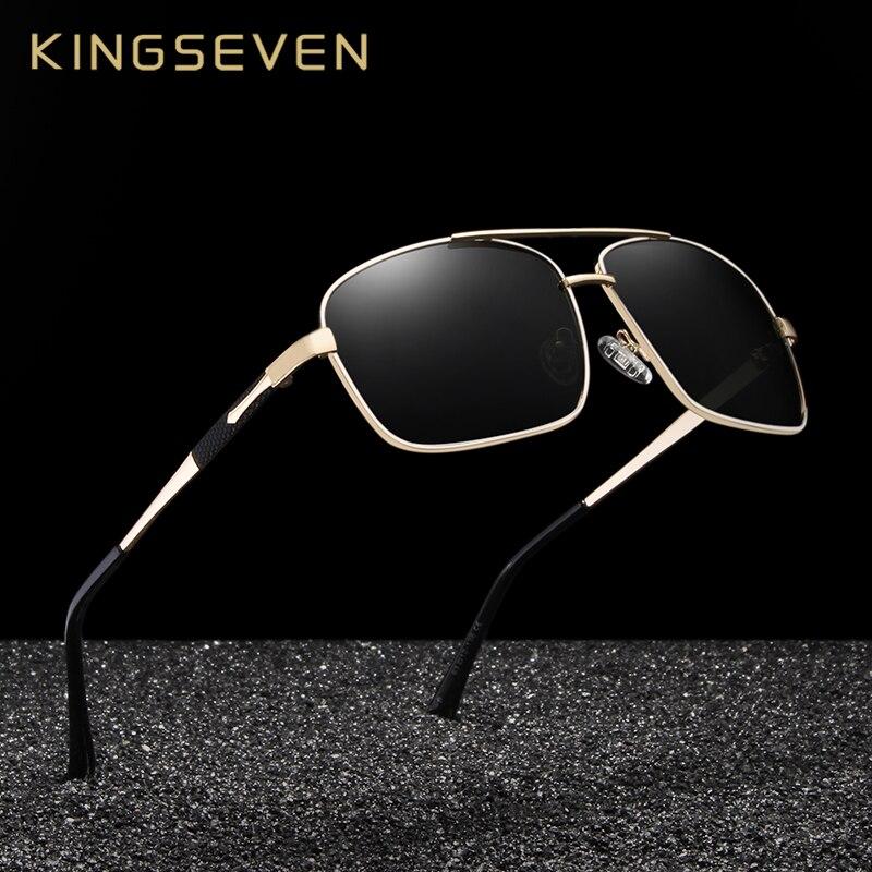 Мужские классические квадратные поляризованные солнцезащитные очки KINGSEVEN, защита UV400, N7713F|Мужские солнцезащитные очки|   | АлиЭкспресс