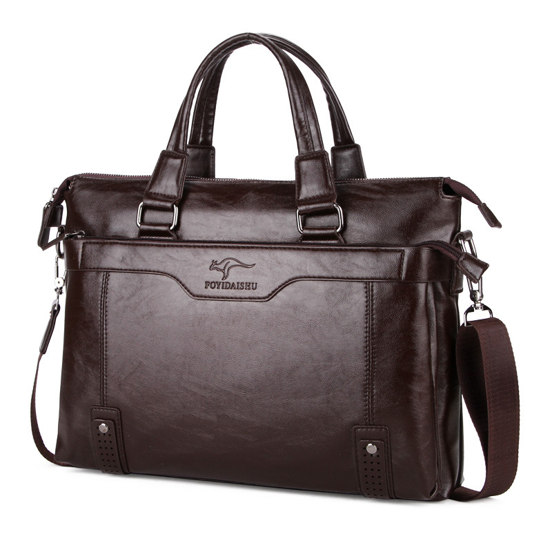 High Quality Leather Shoulder Leisure Men s Bags Business Messenger Portable Briefcase Laptop Large Purse 14
