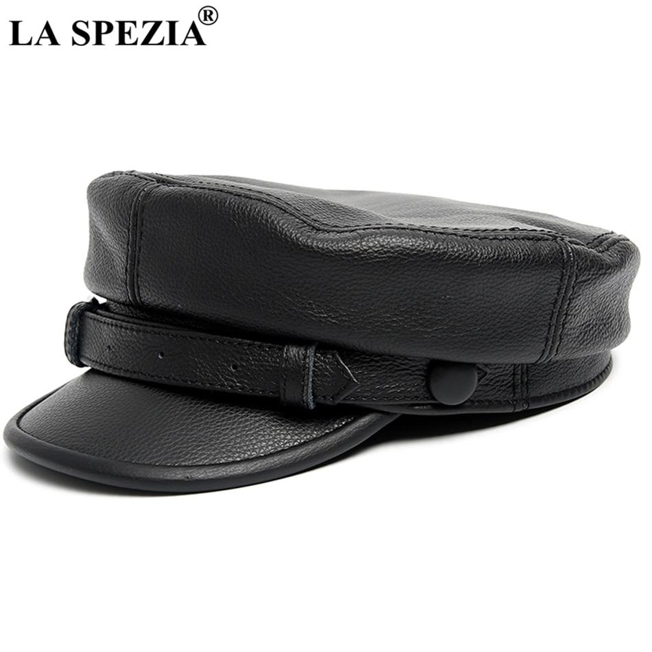 Bekleidung Zubehör Xongkoro Echte Schafe Leder Militärische Hut Jungen Mädchen Flache Top Navy Kappe Schwarze Farbe Alte Mode Hut Für Männer Frauen
