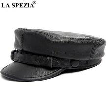 LA SPEZIA negro vendedor tapa genuino de los hombres de cuero de vaca plana  gorras con cinturón Casual sombrero de marinero homb. a5ca42ec305