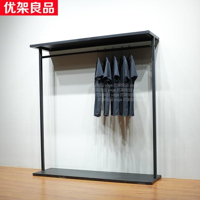 Iron Clothes Hanger Frame Floor Clothing Display Shelves Shelf Rack Uni Island