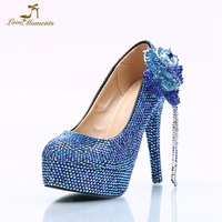 2018 Beautiful Blue AB Crystal Color Wedding Shoes Gorgeous Rhinestone Flower Bridal Party Prom High Heels Royal Blue Size 45