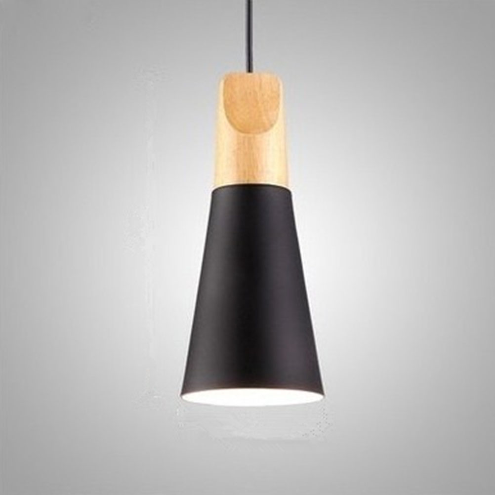 Single Head Beam Modern E27 Lamp Cover Wood Pendant Ceiling Hanging Lamp  Shade Chandelier Kitchen Light Fixture AC110-240V