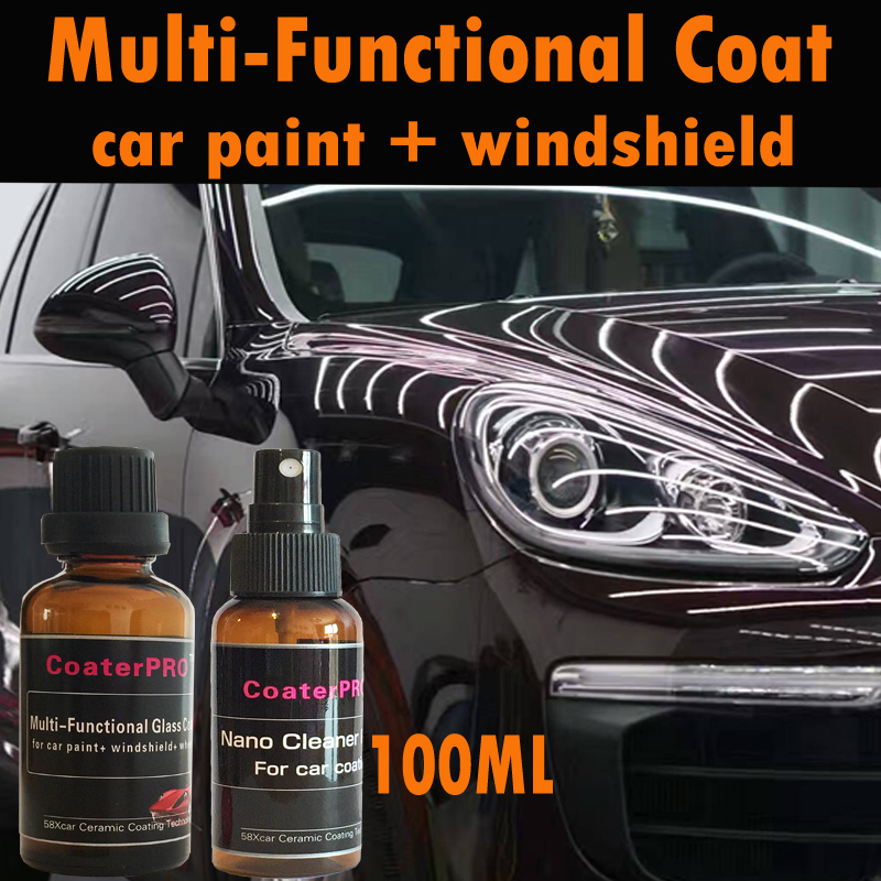 Multi-Functional Nano Liquid 9H Ceramic Glass Coating For Car Paint + Car Windshield+ Auto Wheel Rim Nanotech From Japan 100ml