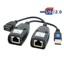 GuSou 1 Pair USB 2.0 USB2.0 Male & Female to Rj45 Female Extended Cable PC Printer Camera Net Cables