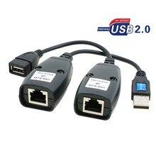 GuSou 1 Par USB 2.0 USB2.0 Masculino & Feminino para Rj45 Fêmea Prolongado Cabo Da Impressora do PC Câmera Cabos de Rede