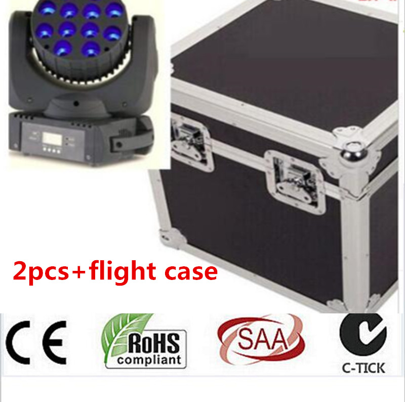 2pcs/Lot 12x12W With Flight Case 150W LED Beam Moving Head Light Dj Equipment 12x12W RGBW(CMY) Quad