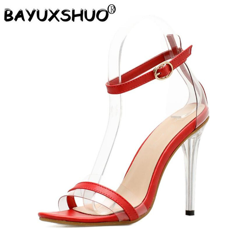 BAYUXSHUO Casual Women Stiletto Sandals Superstar Concise Strappy High Heels Ladies Crystal Wedding Bridesmaid Party Shoes Woman