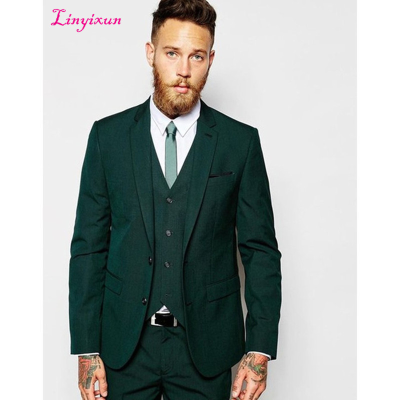 Linyixun Latest Coat Pant Designs Dark Green Casual Men Suit 2017 Slim Tuxedo Stylish Prom man Suits Fashion Blazer