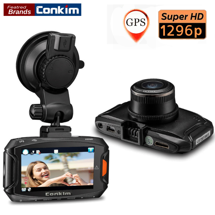 Conkim Dash Cam Car DVR Ambarella A7 Car Digital Video Recorder 1296P 30FPS 170 Degree Wide Angle Camera DVR HDR+GPS Dash Cam gs90a ambarella a7 car dvr camera hd 2 7 inch dash cam 170 degree wide viewing angle camcorder with gps module