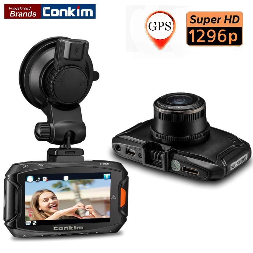 Conkim Dash Cam Car DVR Ambarella A7 Car Digital Video Recorder 1296P 30FPS 170 Degree Wide Angle Camera DVR HDR+GPS Dash Cam a9 3 0inch 140 degree 1626 car dvr dash cam gold